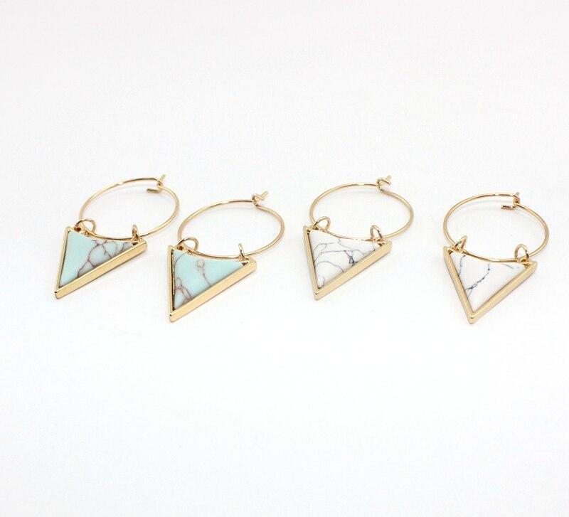 Bohemia Unique Surround Triangle Natural White Green Marble - Κοσμήματα μόδας - Φωτογραφία 4