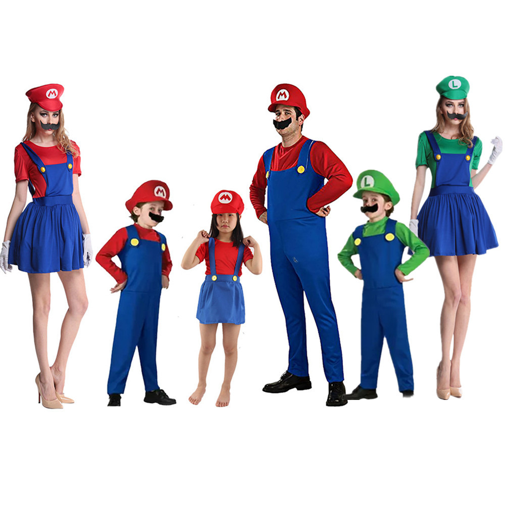 Carnival Adults And Kids Super Mario Cosplay Dance Costume Set Children Family Halloween Party MARIO & LUIGI Costume For Kids