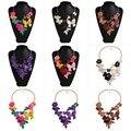 Moda das mulheres coloridas encantos da flor do metal cluster choker maxi cadeia bib colar apelativo pingente jóia