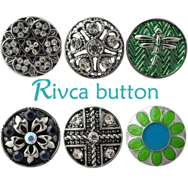 Rivca Snap Button Jewelry Rhinestone Styles Metal Charm DIY 18mm Snap Button Bracelets For Women Christmas Gift D03029