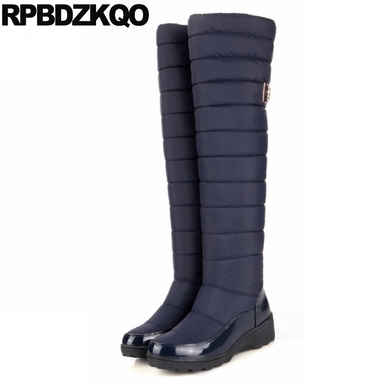 Snow 12 44 Tall Knee High Over The Metal Slip On Waterproof Long Shoes Big Size Navy Blue 10 Thigh Boots For Plus Women Down