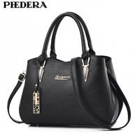 PHEDERA Brand Fashion Handbags For Women Black Quality PU Leather Female Business Tote Bag Elegant Autumn
