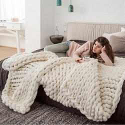 Solid Color Hand Chunky Knitted blankets Thick Yarn Merino Polyester Wool Bulky Knitting Throw Blankets