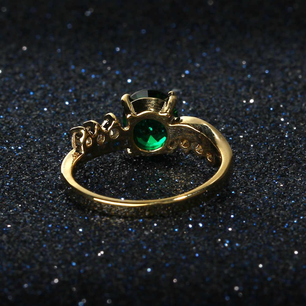 تشيكوسلوفاكيا حجر حفل زفاف خواتم للنساء الذهب اللون موضة الأزرق الأحمر الأخضر حجر خاتم الخطوبة زركون مجوهرات