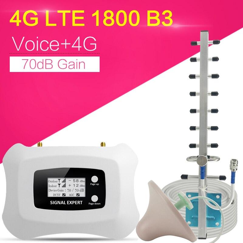 4G Internet Signal Booster 70dB Gain 2G Voice Cellular Repeater LTE 1800MHz 4G Cellular Signal Repeater Mobile Signal Amplifier