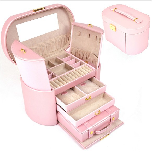 FS  Elliptic 4 floor space jewelry box  with independent small bag ,earrings necklaces pendants pink  gift box  jewelry holderFS  Elliptic 4 floor space jewelry box  with independent small bag ,earrings necklaces pendants pink  gift box  jewelry holder