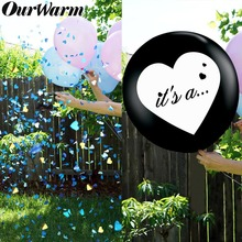 OurWarm 36inch Gender Reveal Party Balloon with Heart Confetti Letter Its a ... Black for Boy or Girl