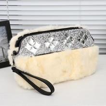 Free Shipping Top Quality Brilliant Women Shoulder Bag  Ladies Rabbit Fur Handbag Multi Color Choice Clutch Bag Messenger Bag