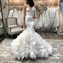 Lisong Elegant Ruffles Mermaid Wedding Dresses 2019 Tiered