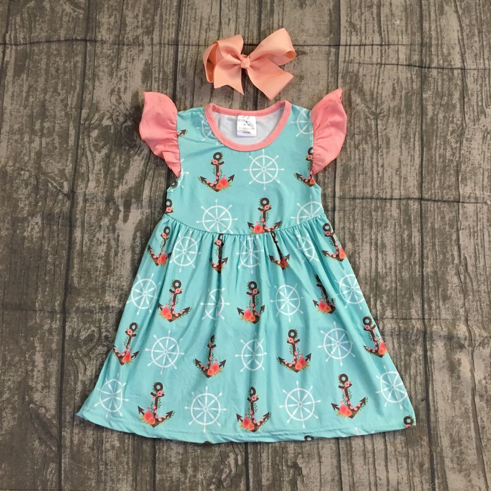 2018 new Summer dress baby kids wear girls clothing coral arrow mint coral cotton dress sleeves boutique milk silk matching bow