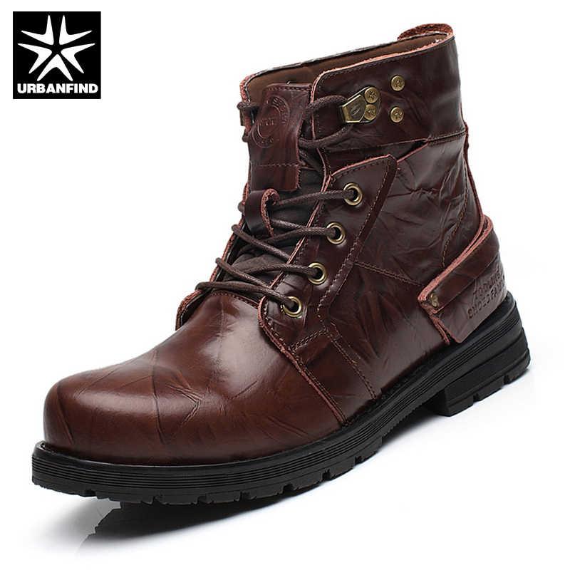Urbanfind для мужчин тактические военные ботинки кожаные ботинки martin европейские размеры 38–44 New England Для мужчин зимние Повседневное туфли на шнуровке