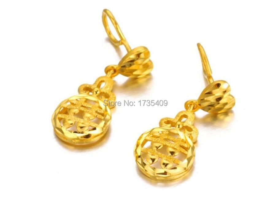 Boucles d'oreilles authentiques en or jaune 24 K/boucles d'oreilles de mariage pour femmes/5.8g
