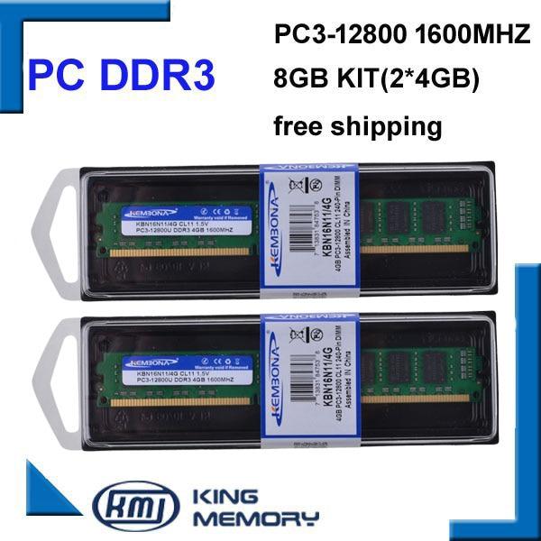 KEMBONA flambant neuf LONGDIMM dissipateur de chaleur mémoire Ram pour ordinateur de bureau DDR3 8GB 8G 1600Mhz 8GB (Kit de 2,2X 4 GB) PC3-12800 1600