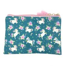 KANDRA Women Small Unicorn Cosmetic Bag Clutch Purse Cute Makeup with Tassel Travel Holiday Kids Zip Pouch Pencil Case