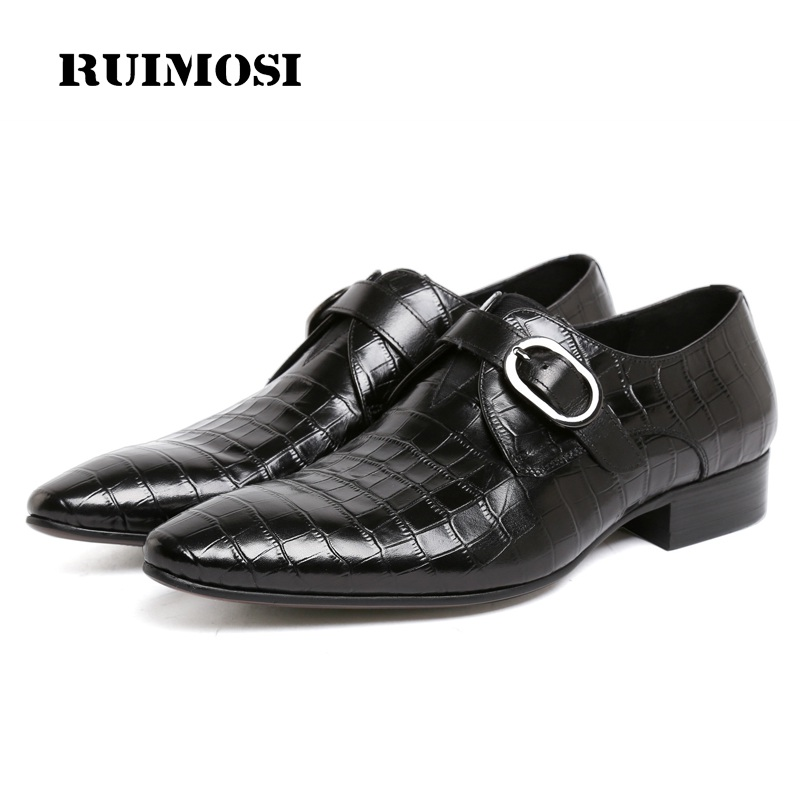RUIMOSI Italian Designer Pointed Toe Man Formal Dress Shoes Buckle Genuine Leather Male Oxfords Men's Wedding Bridal Flats PF98