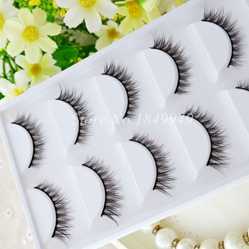5 Pairs Pure Handmade Cotton Stalk False Eyelashes Natural Crisscross Messy Soft Winged Fake Eyelashes Fashion Makeup Lashes