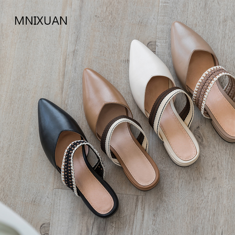 MNIXUAN Classics women shoes pump pointed toe mules shoes 2019 spring summer new real leather braid