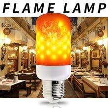 E27 Led Flame Effect Light Bulb 220V Fire Lamp E14 Flickering Emulation Dynamic E26 Fairy Lights Decorations AC85-265V 2835