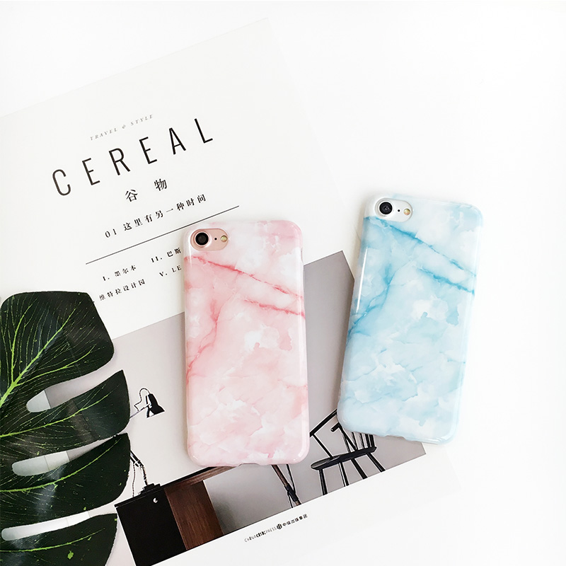For iPhone 7 7plus Case Marble Pattern Light Blue Pink Soft TPU Cover Case for iPhone 6 6s 4.7 6plus 6splus 5.5 8 8plus X