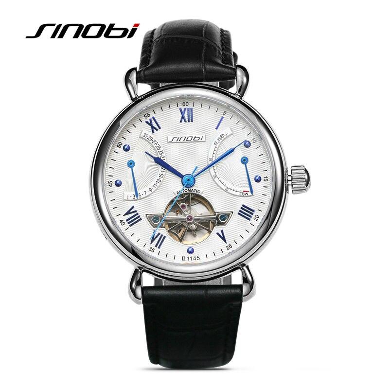 где купить SINOBI Mens Automatic Mechanical Watch Tourbillon Males Skeleton Wrist Watches Gift Box Steel Wristwatches Relojes Mecanicos по лучшей цене