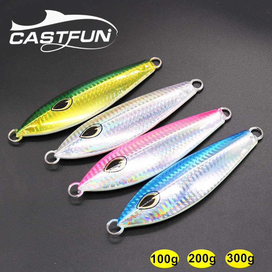 Castfun Metal Jig Spoon Lure 100g 200g 300g 1pc Saltwater Jigging Lure Fishing Lure Slow Jig Pitch castfun vertical jig lure saltwater jigging lure 4pcs lot 200g speed jig hard baits fishing lures