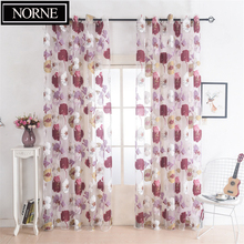 NORNE Burnt-out Floral Pattern Home Tulle Sheer Voiles Curtains for Living Room Bedroom Kitchen Door Panel Window Curtain norne embroidered semi white voiles peacock feathers tulle sheer curtains for living room kitchen drape treatment for bedroom