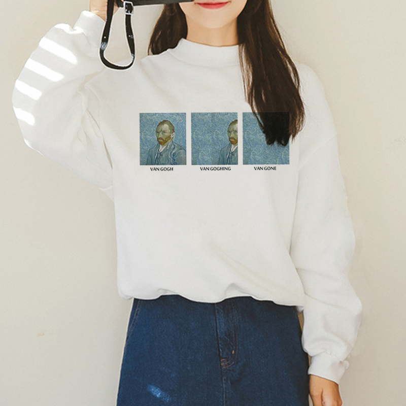 Van Gogh Funny Harajuku Vogue Hoodies Women Autumn Oil Print Warm Aesthetic Ullzang Sweatshirts 90s Van Gone Meme Hoody Female
