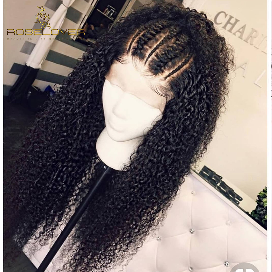 ROSELOVER Brazilian Curly Human Hair Wig Preplucked 13x6 Deep Part Lace Front Human Hair Wigs For
