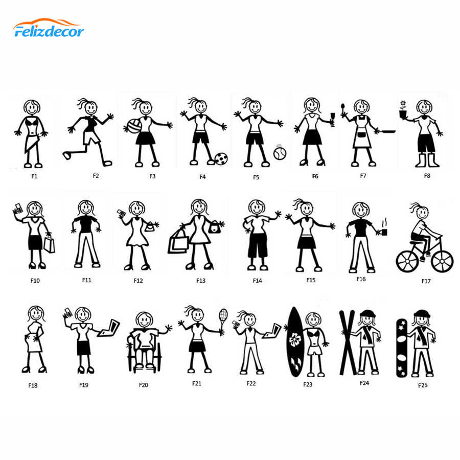 15cm tall Adult Females My Stick Figure Family Car Window Stickers Custom selection number L1049
