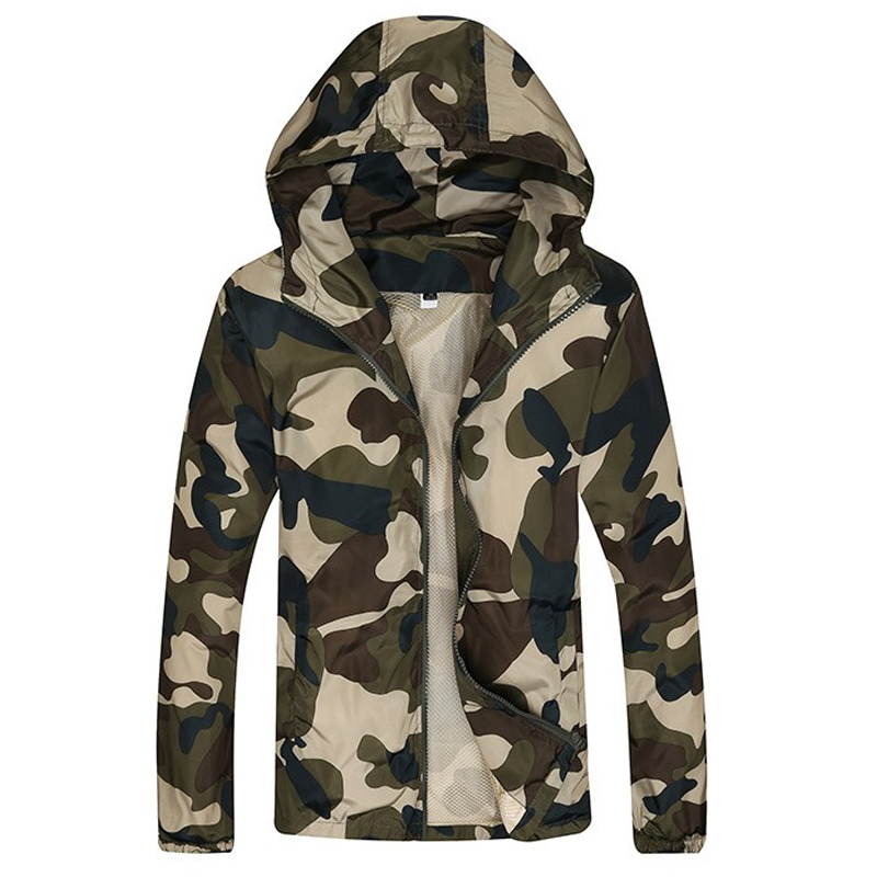 Camouflage Jacket Men Hooded Thin Windbreaker Zipper Sunscreen Jackets Men's 2018 Brand New Fashion Camo Coats Jaqueta Masculino