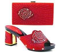 New fashion african shoe and bag set for party italian shoe with matching bag new design ladies shoe and bag  CT16-30 red