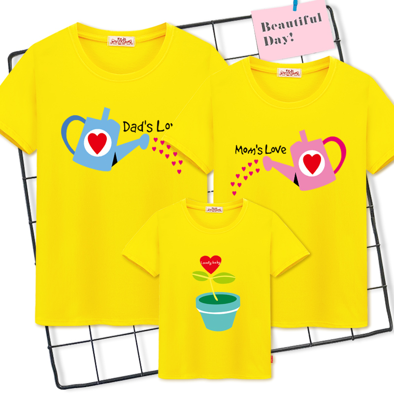 ac6ee121f family matching clothes Mother And Daughter Clothes Cotton Family T-shirts  father Son Baby girl
