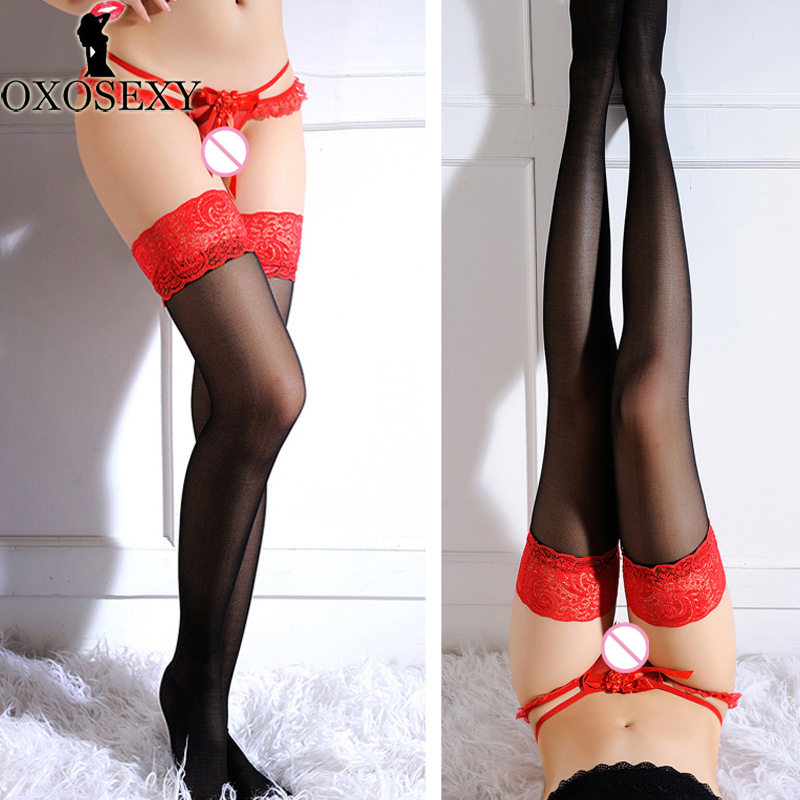 Unisex Lace Top Stockings Red