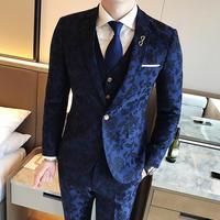 Синий осень Цветочный жениха костюм Бизнес Формальные смокинг костюм высокого качества Homme барокко Винтаж Мужские костюмы свадьба жених 3XL