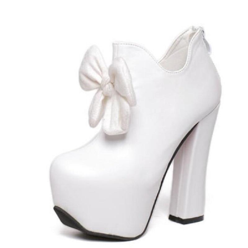 14CM Heel Height Fashion Women 2017 spring High Heels Ankle Boots Brand Women Platform Shoes Autumn Winter Botas Mujer Femininas
