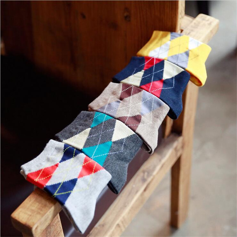 5 Pair Brand New Plaid Style Men Cotton Socks Business Casual Breathable Autumn Man Socks