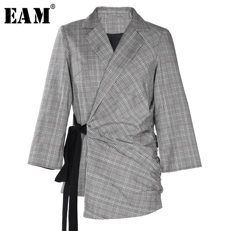 [EAM] Высокое качество 2018 осень зима отложной воротник с длинным рукавом плед асимметрия на шнуровке пальто Мода Новые Женские LA945