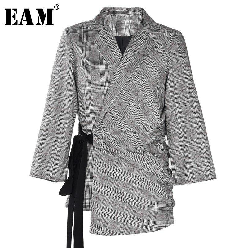 [EAM] Высокое качество 2019 осень зима отложной воротник с длинным рукавом плед асимметрия на шнуровке пальто Мода Новые Женские LA945