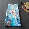 HOT 2017 Summer Baby Girl Dress For Girls Princess Vestidos Fever 2 Anna Elsa Dress Butterfly Print Party Dress Kids Costume