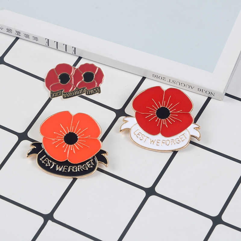 Red Poppy Flower Enamel Pin Brooches Remembrance Day Gift Plant Flower  Badges Brooch Collection Pins Button Vintage Jewelry