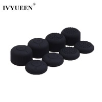 IVYUEEN 8 pcs for Nintend Switch NS JoyCon Silicone Analog Thumb Stick Grips Caps for Joy Con Controller Black Cover