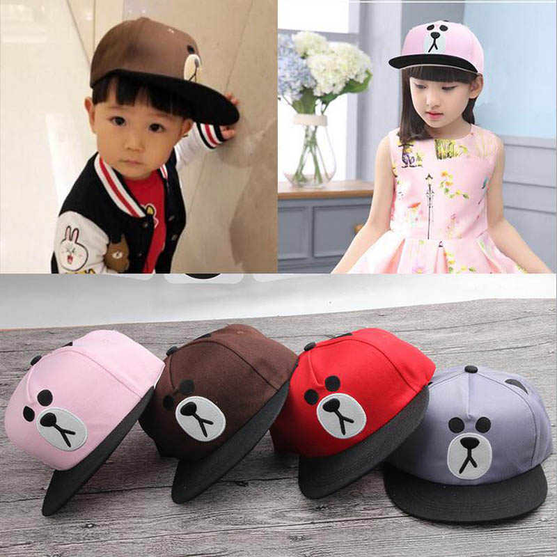 2017 Children Hip Hop Baseball Cap Cartoon embroidery bear Autumn kids Sun Hat Boys Girls snapback Caps for 2-9 years 2016 high quality camo baseball caps kids boys snapback caps children girls hip hop cap fashion summer baby sun hats for girls