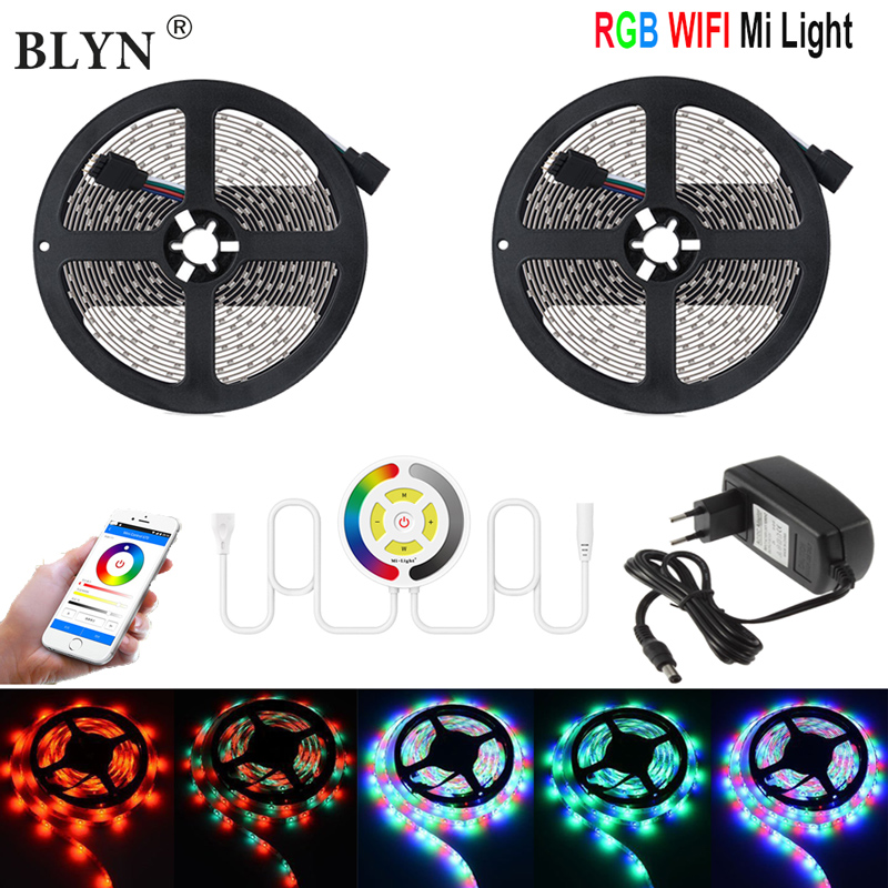 RGB LED Tape 10M 5M WIFI LED Strip Waterproof SMD 3528 Mi Light WIFI Controller Smart Home Light Alexa DC12V Adapter Power wifi led controller rgb led light strip 2 4g dc12v intelligent wifi controller compatible amazon alexa google home and ifttt