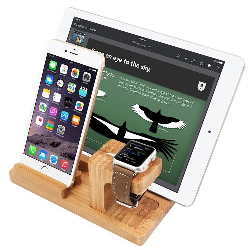 Station de chargement en bois nouvellement 4 ports de chargement support multifonction Compatible avec iPhone Android