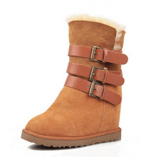 Snow boots female Korean fur boots increased non-slip rubber bottom inside one genuine leather shoes tide SUB1357