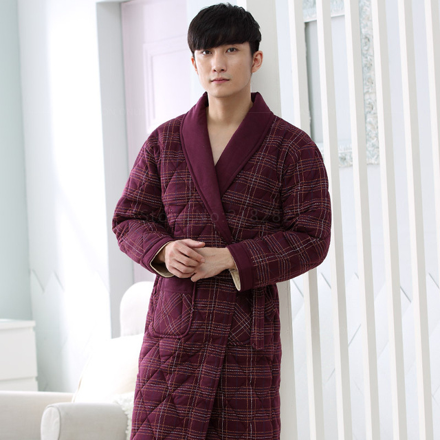 Brand New Winter Men's Nightgowns Warm Striped Robes Men Bath Robe Quilted Sleepwear Robe Spa Shower Bathrobe Plus Size 3XL