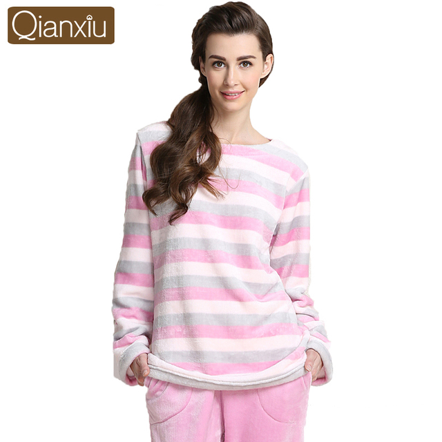 55d9afab2 Qianxiu pijamas de marca Coral polar Conjunto de pijama para mujer ropa de  casa para parejas