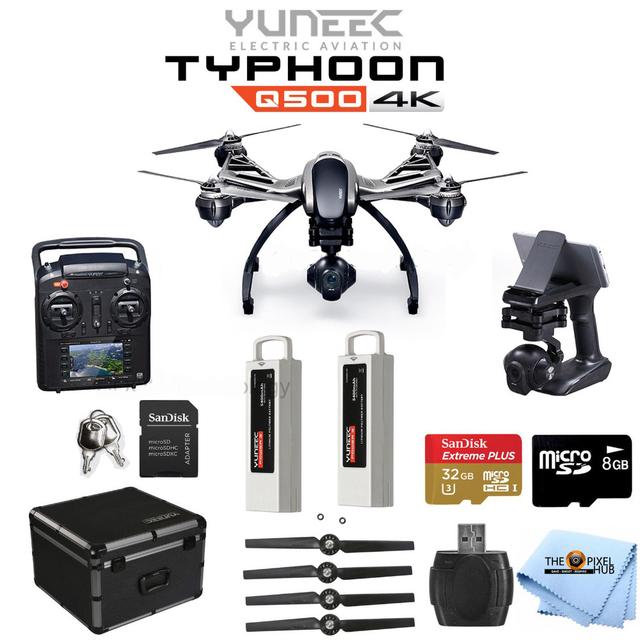 Yuneec Q500 4 K Quadcopter Agarre Firme Mano Cardán con el caso de Aluminio + Batería Extra Yunee Q500 Uoplay Tienda