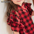 2017 Fashion Children Casual Long Sleeves Plaid Shirt Blouse Baby Girls School   Clothes Kids Casual Fly sleeve Clothes