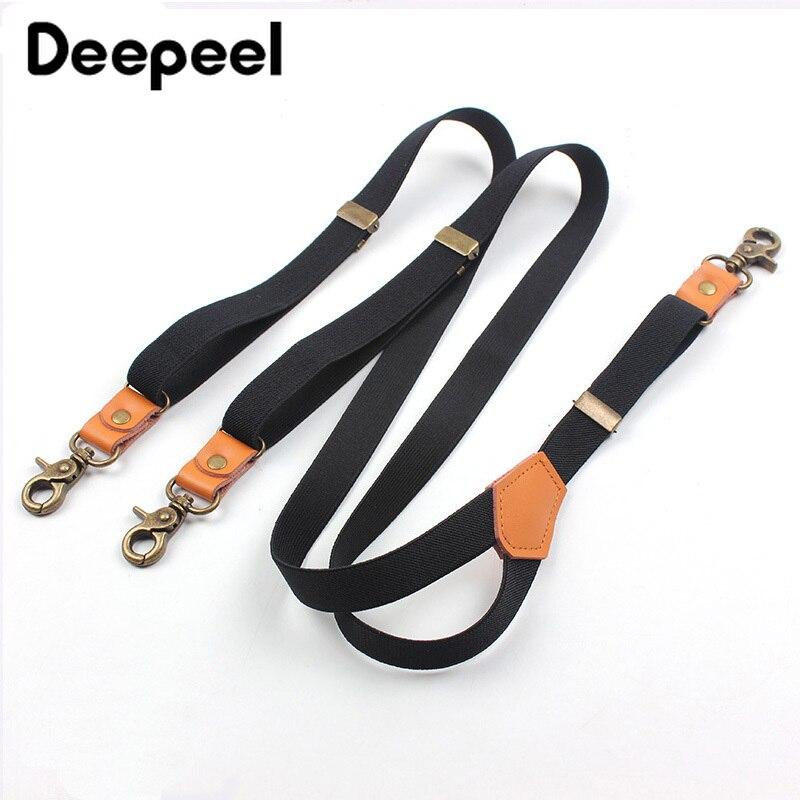 Deepeel 1pc 2X110cm Suit Trousers Shoulder Strap 3 Clips Sanp Buckles Suspenders Retro Hook Unisex Jeans Decoration Suspenders